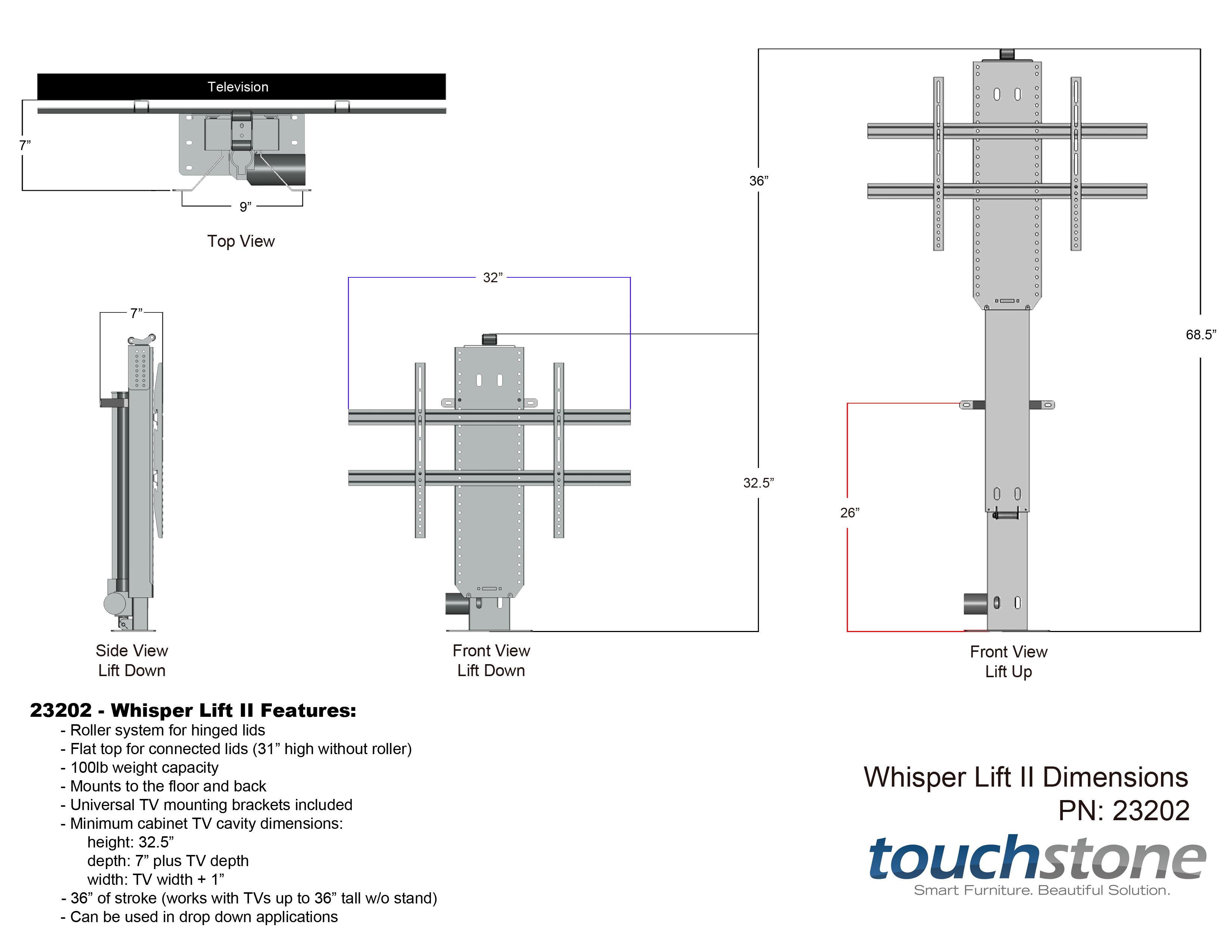 Touchstone 23202 Whisper Lift Ii Tv Lift Mechanism